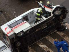 В Москве в результате ДТП перевернулась «скорая помощь»
