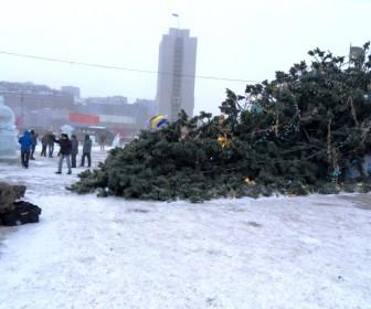 упала елка