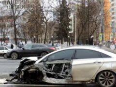В массовом ДТП в Москве одна из шести машин лишилась колес