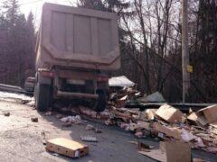 Петербург: Выборгское шоссе завалило куриными тушками и яйцами после ДТП