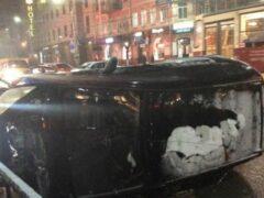 В центре Тулы перевернулся автомобиль