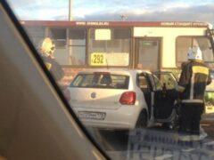 На въезде в Колпино в ДТП попала 292-я маршрутка