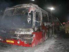 В Казани дотла сгорел припаркованный на стоянке автобус